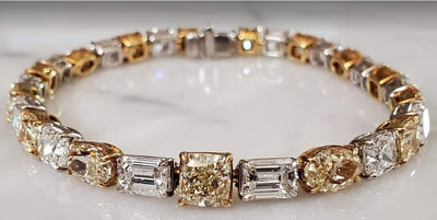 Fancy Yellow and White Diamond Tennis Bracelet