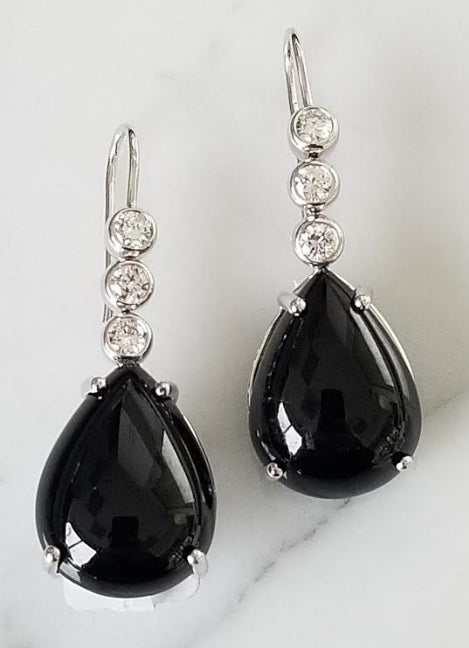 Black Tourmaline Dangling Earrings