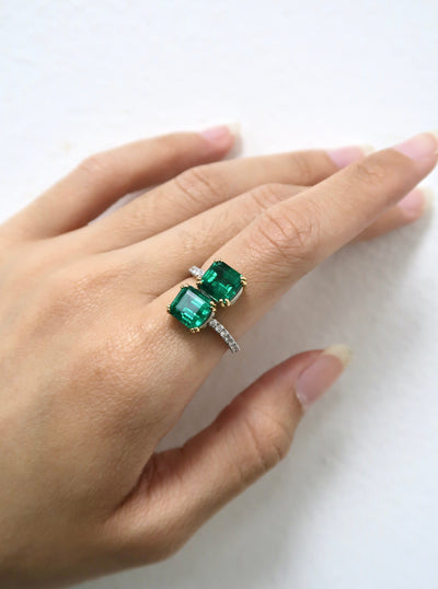 Emerald Cut Bypass Ring