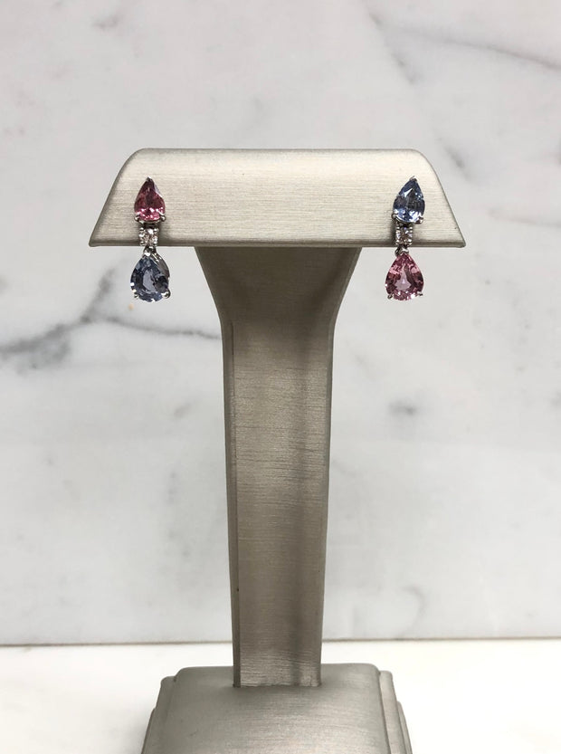Blue & Pink Sapphire Drop Earrings