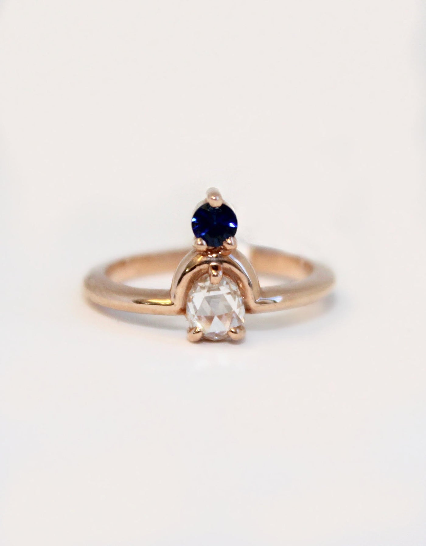 Round Cut Diamond Ring with Sapphire