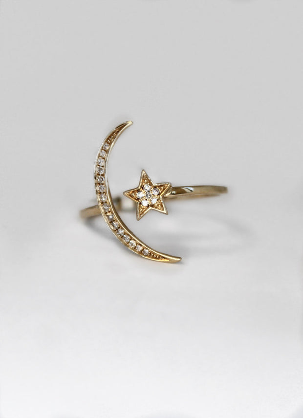 Yellow Gold Star and Moon Ring