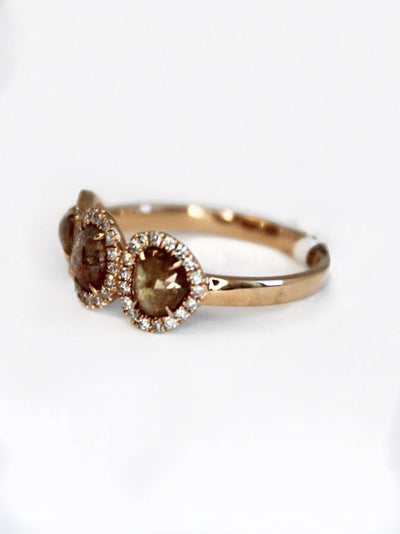 Three Stone Diamond Halo Ring (Rough Diamond)