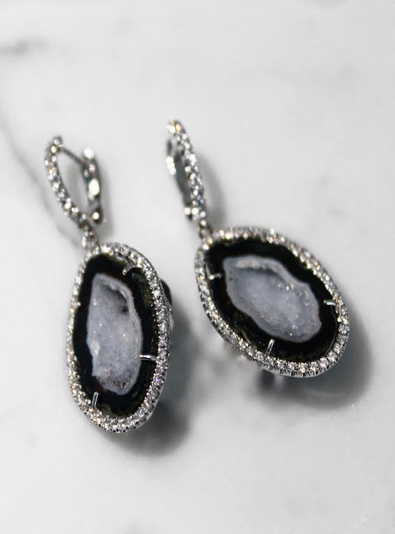 White Geode Halo Earrings