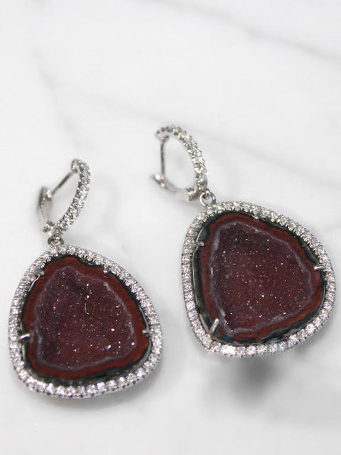 Maroon Geode Halo Earrings