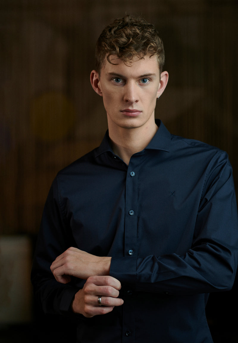 London Stretch Nano Long Sleeve Shirt - Navy