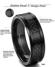 Load image into Gallery viewer, Tungsten Carbide Wedding Band Black Carbon Fiber - Mister Bands