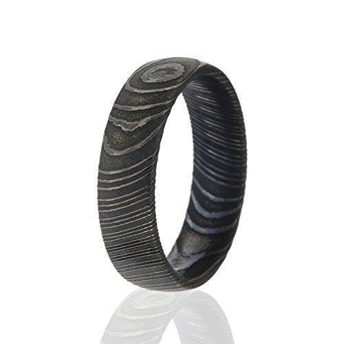 Damascus Steel Wedding Band Black 6mm - Mister Bands