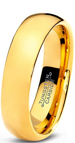 Tungsten Wedding Band Ring Comfort Fit 18K Yellow Gold Plated - Mister Bands