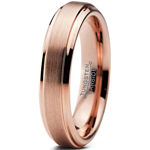 Tungsten Wedding Band Ring Comfort Fit 18K Rose Gold Plated Beveled Edge - Mister Bands