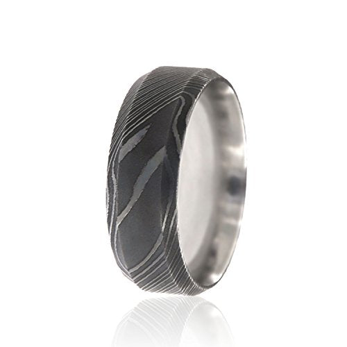 Damascus Steel Wedding Band 8mm - Mister Bands