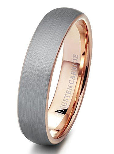 Tungsten Rings Wedding Band Brushed Rose Gold - Mister Bands