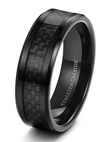 Tungsten Carbide Wedding Band Black Carbon Fiber - Mister Bands
