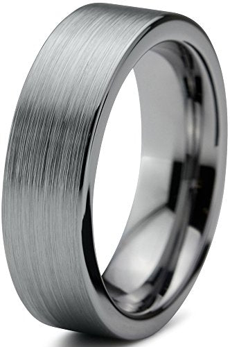 Tungsten Wedding Band Flat Pipe Cut - Mister Bands