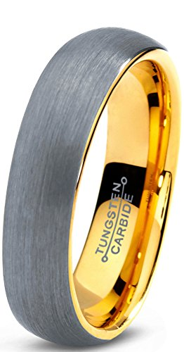 Tungsten Wedding Band 18K Yellow Gold Plated - Mister Bands