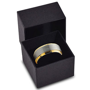 Tungsten Wedding Band Ring Comfort Fit 18K Yellow Gold Plated Beveled Edge - Mister Bands