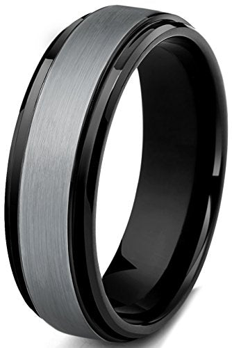 Tungsten Carbide Wedding Band Beveled Edge - Mister Bands