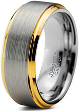 Load image into Gallery viewer, Tungsten Wedding Band Ring Comfort Fit 18K Yellow Gold Plated Beveled Edge - Mister Bands