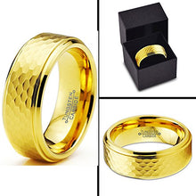 Load image into Gallery viewer, Tungsten Wedding Band 18K Rose Gold Plated Hammerd Beveled - Mister Bands