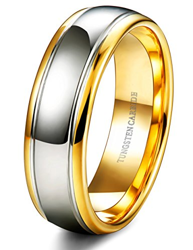 Tungsten Wedding Band Yellow Gold - Mister Bands