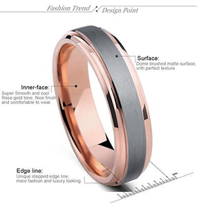 Tungsten Rings for Men Wedding Band Rose Gold Brushed Beveled - Mister Bands