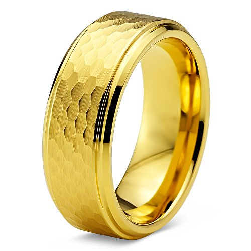 Tungsten Wedding Band 18K Rose Gold Plated Hammerd Beveled - Mister Bands