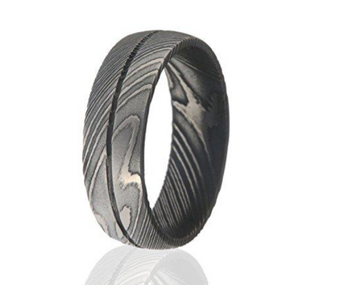 Groove Damascus Steel Wedding Band - Mister Bands