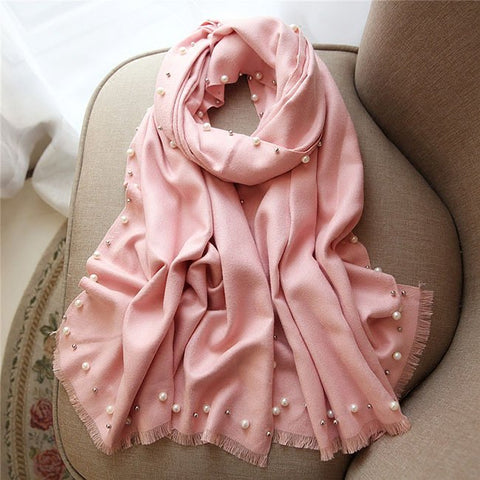 Women Pearl Ornament Scarf