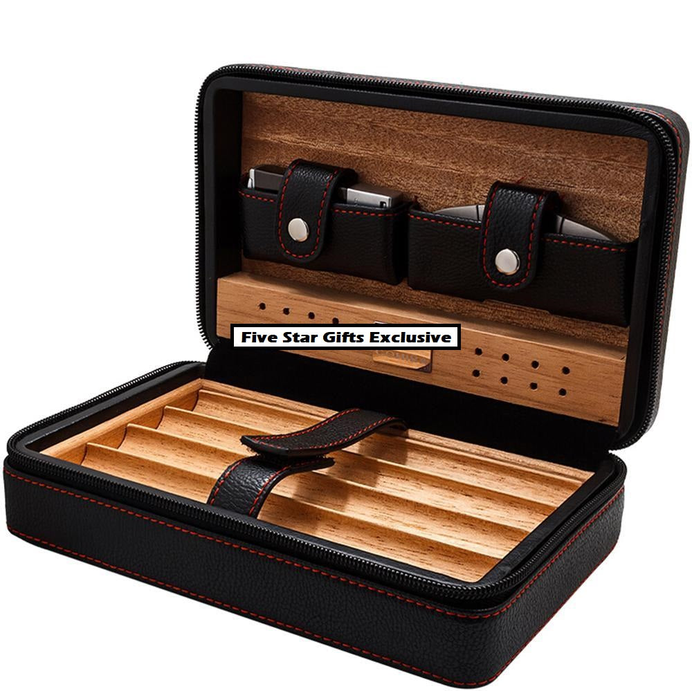 COHIBA Portable Leather & Spanish Cedarwood Cigar Case