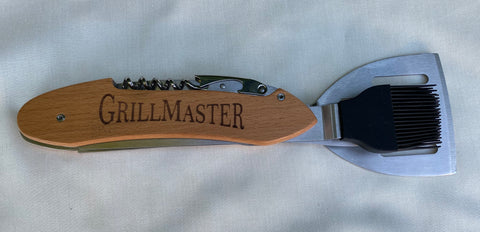 Laser Engraved 5-1 BBQ Tools & BBQ Gift Set