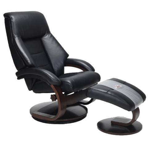 Relax-R Recliner Black Top Grain Leather Relax-R Montreal Recliner with Ottoman