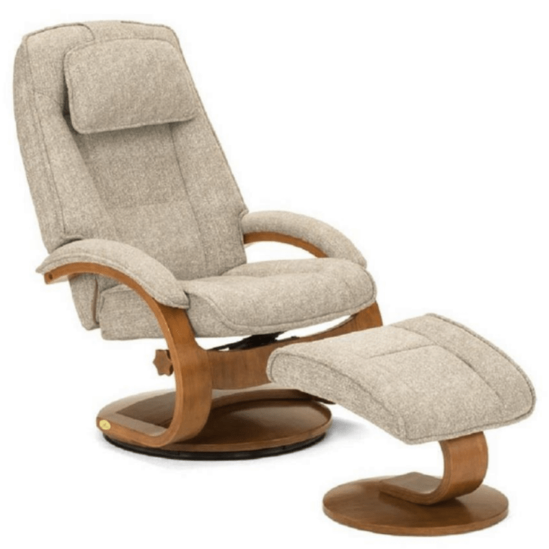 Relax-R Recliner Teatro Linen Fabric Relax-R Brampton Recliner with Ottoman