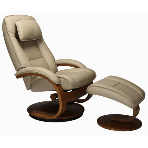 Relax-R Recliner Cobblestone Top Grain Leather Relax-R Brampton Recliner with Ottoman