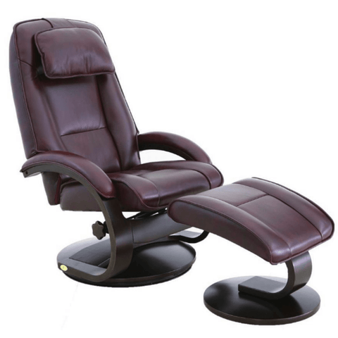 Relax-R Recliner Merlot Top Grain Leather Relax-R Brampton Recliner with Ottoman