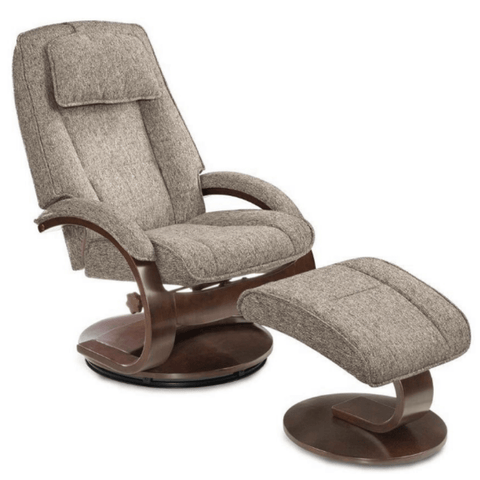 Relax-R Brampton Recliner and Ottoman in Teatro Graphite Fabric