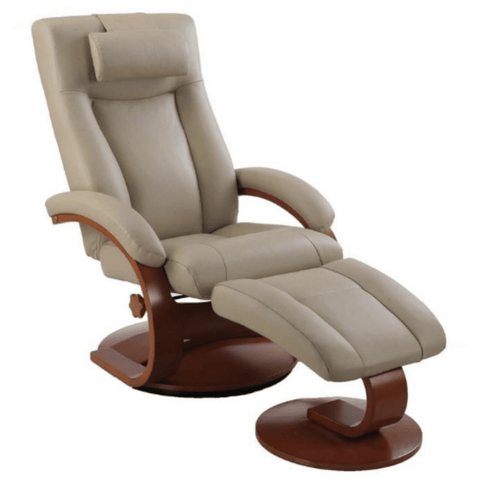 Relax-R Recliner Cobblestone Top Grain Leather Relax-R Hamilton Recliner and Ottoman with Pillow