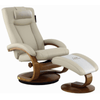Image of Relax-R Hamilton Recliner and Ottoman with Pillow in Beige Air Leather
