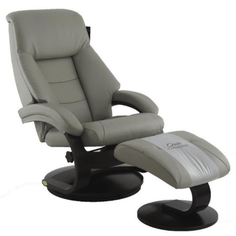 Relax-R Recliner Putty Top Grain Leather Relax-R Montreal Recliner with Ottoman