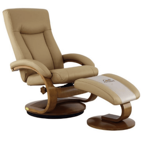 Relax-R Hamilton Recliner and Ottoman in Cobblestone Top Grain Leather