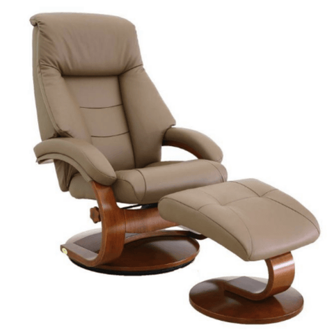 Relax-R Montreal Recliner and Ottoman in Sand Top Grain Leather