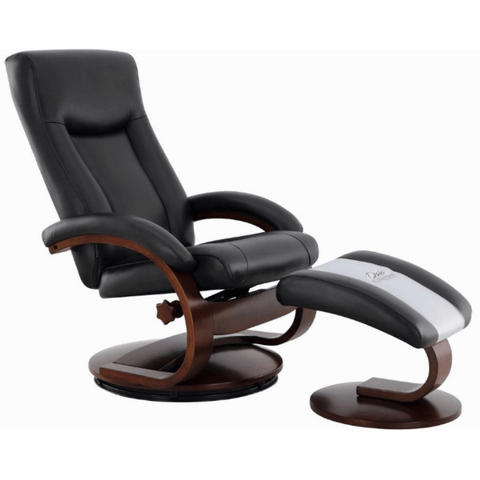 Relax-R Recliner Black Top Grain Leather Relax-R Hamilton Recliner with Ottoman