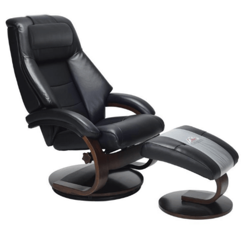 Relax-R Recliner Black Top Grain Leather Relax-R Montreal Recliner and Ottoman with Pillow