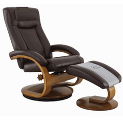 Relax-R Recliner Whisky Air Leather Relax-R Hamilton Recliner and Ottoman with Pillow