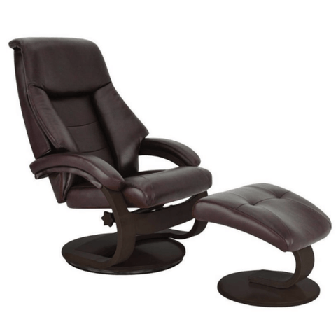 Relax-R Recliner Merlot Top Grain Leather Relax-R Montreal Recliner with Ottoman