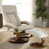 Image of Relax-R Norfolk Recliner and Ottoman in Beige Air Leather