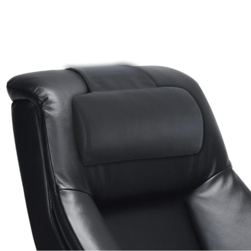Relax-R Montreal Recliner and Ottoman with Pillow in Black Top Grain Leather