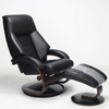 Image of Relax-R Montreal Recliner and Ottoman in Black Top Grain Leather
