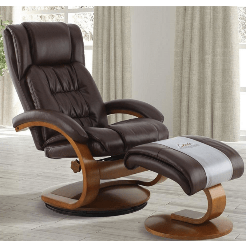 Relax-R Norfolk Recliner and Ottoman in Whisky Air Leather