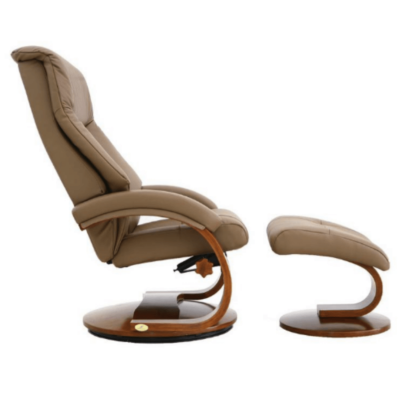 Relax-R Montreal Recliner and Ottoman with Pillow in Sand Top Grain Leather