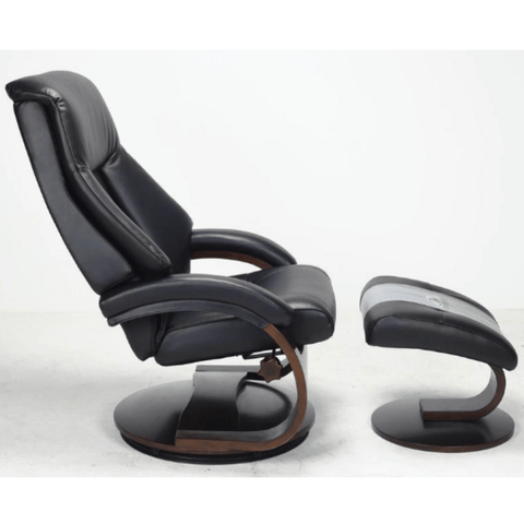 Relax-R Montreal Recliner and Ottoman in Black Top Grain Leather